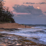 Beach and Full Moon Rise, East Kauai, Hawaii Photographic Print by Vincent James