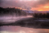 Misty Fiery Sunrise, Yellowstone River Photographic Print by Vincent James