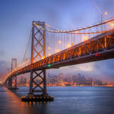 Foggy Blue Hour at Bay Bridge, San Francisco, Square Photographic Print by Vincent James