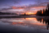 Misty Scene at Sunrise, Yellowstone River, Wyoming Photographic Print by Vincent James
