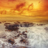 Stormy Sunset at Thor's Well, Oregon Coast Photographic Print by Vincent James