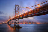 Foggy Blue Hour at Bay Bridge, San Francisco Photographic Print by Vincent James
