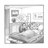 "A man sitting beside a deceased old lady in a hospital bed, thinks ""Damn, … - New Yorker Cartoon Premium Giclee Print by Harry Bliss"