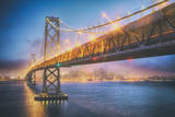 Retro Bay Bridge and Cityscape, San Francisco Photographic Print by Vincent James