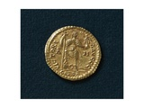 Gold Solidus of Valentinian III Depicting Emperor Trampling Snake with Human Head Giclee Print