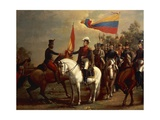 Simon Bolivar Honoring the Flag after Battle of Carabobo, June 24, 1821 Giclee Print by Arturo Michelena