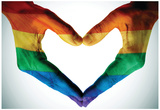 Man Hands Painted As The Rainbow Flag Forming A Heart, Symbolizing Gay Love Reprodukcje