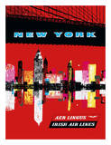 New York, USA Aer Lingus Irish Air Lines - Manhattan Skyline Giclée-tryk
