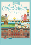 Retro Style Poster With Amsterdam Symbols And Landmarks Plakater