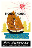 Hong Kong, China Pan Am American Traditional Sail Boat and Temples Art by A. Amspoker