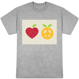 Apple and Orange, Peace and Love T-Shirt