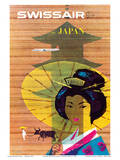 Swissair to Japan, Tokyo - Painted Wooden Store Prints by Donald Brun