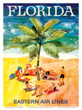 Florida - Eastern Air Lines - Sunbathers around Palm Tree Prints by Jane Oliver