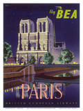 Paris - Notre Dame Cathedral by Moonlight - Fly BEA (British European Airways) Poster by Daphne Padden