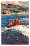On the Beach at Waikiki - Royal Hawaiian and Moana Seaside Hotels - Surfing in Outrigger Canoes Poster by Donald Easton