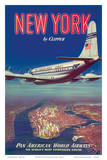New York USA by Clipper Pan American Airways - Boeing 377 - Art Print