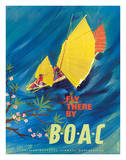 The Orient - Fly There By BOAC - Hong Kong Thailand Cambodia Asia Giclee Print by David Judd