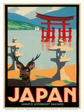 Japanese Government Railways - Hakone Shrine, Lake Ashi, Japan Print by Pieter Irwin Brown