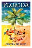 Florida - Eastern Air Lines - Sunbathers around Palm Tree ジクレープリント : Jane Oliver