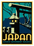 Japanese Government Railways - Night Twilight Shrine Cherry Blossom Posters by Pieter Irwin Brown