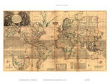 The Whole World Map - Britain's Possessions in North America Prints by Herman Moll