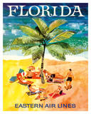 Florida - Eastern Air Lines - Sunbathers around Palm Tree ジクレープリント : Jane Oliver