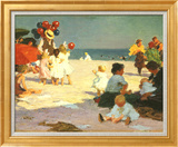 Edward Henry Potthast - On the Beach (Potthast) Umělecké plakáty