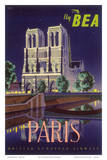 Paris - Notre Dame Cathedral by Moonlight - Fly BEA (British European Airways) Print by Daphne Padden