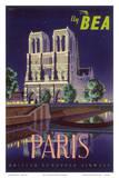 Paris - Notre Dame Cathedral by Moonlight - Fly BEA (British European Airways) Julisteet tekijänä Daphne Padden