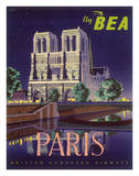 Paris - Notre Dame Cathedral by Moonlight - Fly BEA (British European Airways) Giclee Print by Daphne Padden