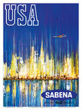 USA Sabena Belgian World Airlines - New York Manhattan Skyline Prints by  Brisart