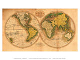 A Map of the World from the Best Authorities - The Track of Captain Cook Posters