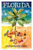 Florida - Eastern Air Lines - Sunbathers around Palm Tree Poster von Jane Oliver