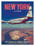 New York USA by Clipper Pan American Airways - Boeing 377 Pósters