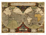 World Expeditions Map with Routes of Sir Francis Drake and Thomas Cavendish Art by Jodocus Hondius
