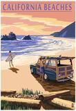 California Beaches - Woody on Beach Print