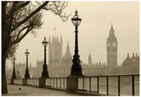 Big Ben And Houses Of Parliament, London In Fog Posters