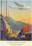 Pan-American Clipper Flying Over China - Hong Kong, China Posters