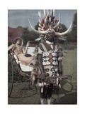 A Zulu Tribesman Pulls His Female Employer around in a Cart Giclee Print by Melville Chater