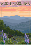 North Carolina - Bear and Cubs with Spring Flowers Print