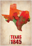 Texas Watercolor Map Prints by  NaxArt