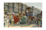 A Procession Is in the Streets of Jaipur for the Maharajah's Visit Giclee Print by William Wisner Chapin
