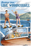 Lake Winnipesaukee, New Hampshire - Water Skiing Scene Print