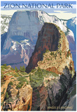 Zion National Park - Angels Landing Poster by  Lantern Press