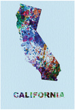 California Color Splatter Map Posters