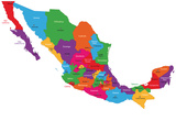 Colorful Mexico Map With State Borders And Capital Cities Poster