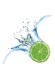 Fresh Lime Dropped Into Water With Splash Isolated On White Prints