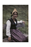 Gold Cap and Silk Apron Worn by Woman Suggests Aristocratic Heritage Photographic Print by Hans Hildenbrand