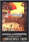 Brussels, Belgium - Lebaudy Airship with World Flags at Expo Poster