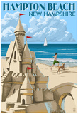 Hampton Beach, New Hampshire - Sand Castle Print